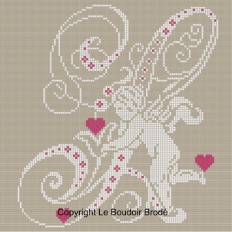 Downloadable cross stitch chart. Monogram S, angel and hearts