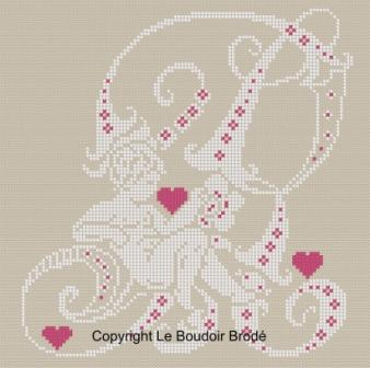 Downloadable cross stitch chart. Monogram R, angel and hearts