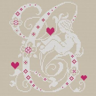 Downloadable cross stitch chart. Monogram C, angel and hearts
