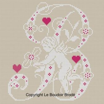 Downloadable cross stitch chart. Monogram B, angel and hearts