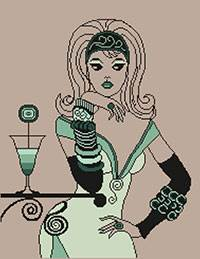Cross stitch chart. Girl Cocktail
