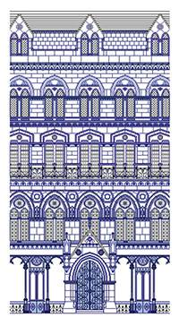 Cross stitch kit. Immeuble Bleu