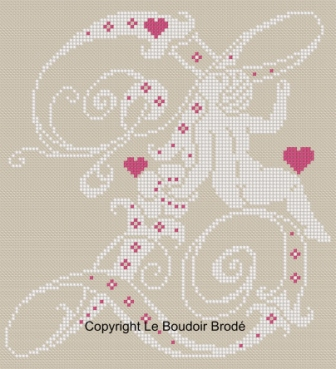 Downloadable cross stitch chart. Monogram Z, angel and hearts