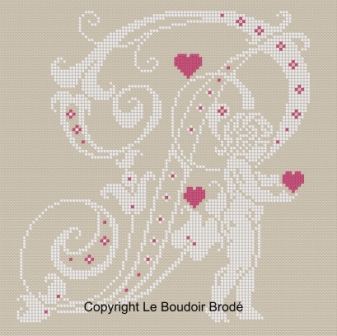 Downloadable cross stitch chart. Monogram P, angel and hearts