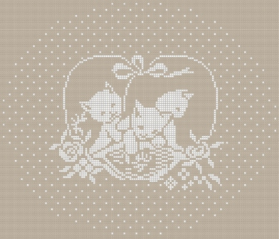Cross stitch chart download. Three kittens