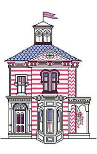 Cross stitch chart. La Villa Rose - Pink House