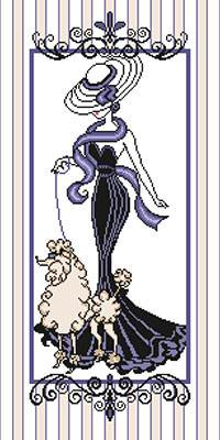 Cross stitch chart. Elégante au Caniche - Fashion lady with poodle
