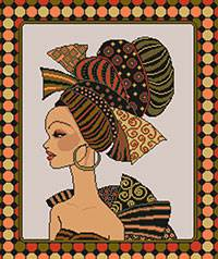 Cross stitch chart. Africaine6 African woman portrait