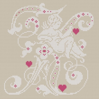 Downloadable cross stitch chart. Monogram K, angel and hearts