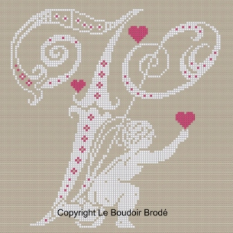 Downloadable cross stitch chart. Monogram V, angel and hearts