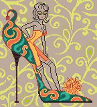 Cross stitch chart. Escarpin - fashion girl and pump.