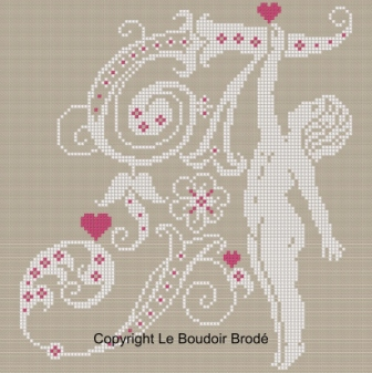 Downloadable cross stitch chart. Monogram T, angel and hearts