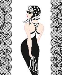 Cross stitch kit. Young lady of 60' with La Petite Robe Noire