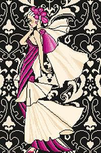 Cross stitch chart. Elégante aux Voiles - Fashion girl