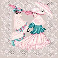 Cross stitch chart. Elégantes à l'Ombrelle - Retro ladies with umbrella