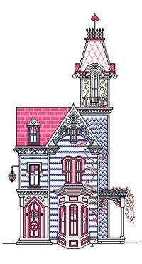 Cross stitch chart. La Villa Bleue - Blue House