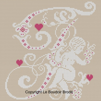 Downloadable cross stitch chart. Monogram F, angel and hearts