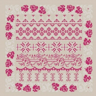 Cross stitch chart download. Sampler red and white